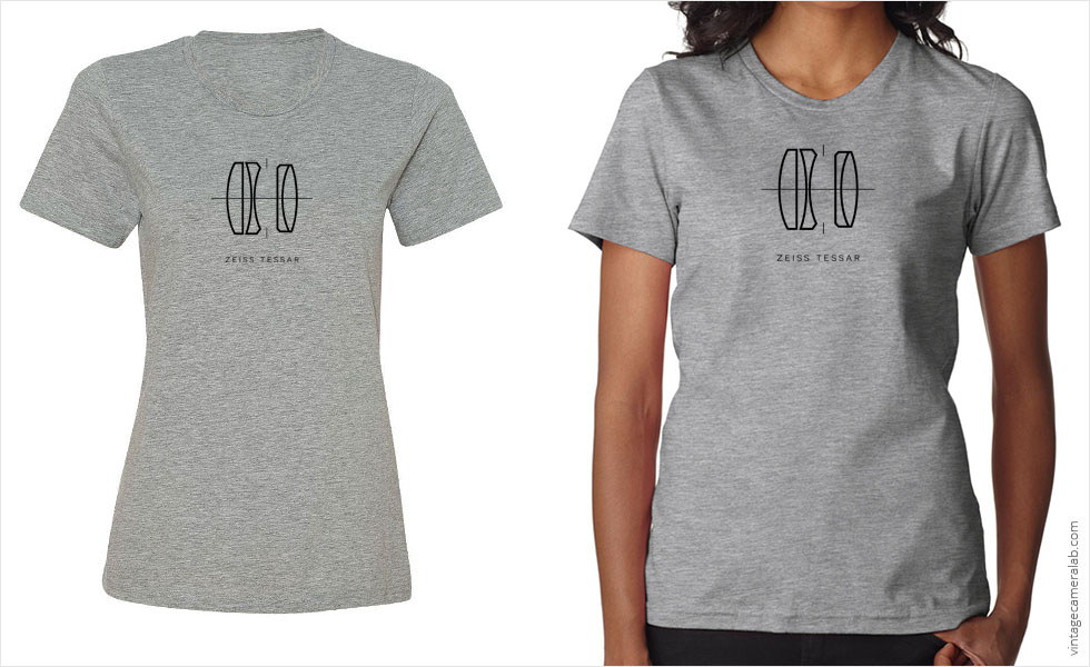Zeiss Tessar lens diagram women's grey t-shirt at Vintage Camera Lab