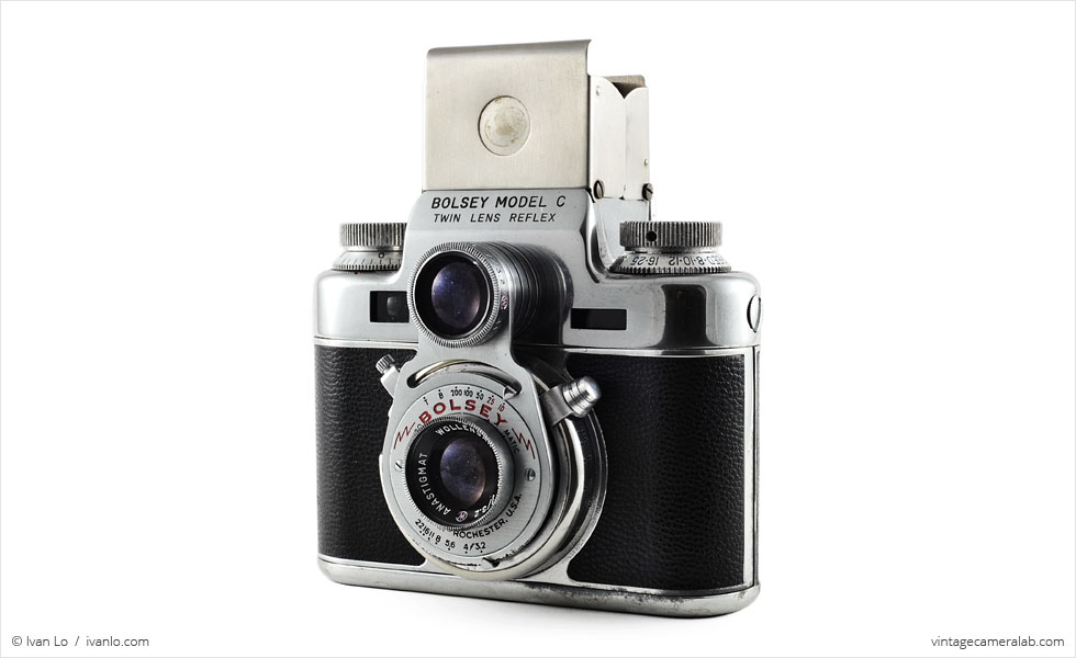 Bolsey Model C (three quarters, viewfinder open)