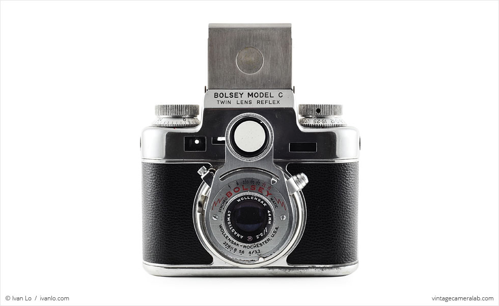 Bolsey Model C (front view, viewfinder open)