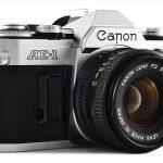 Canon AE-1 (three quarters, with Canon FD 50mm f/1.8)