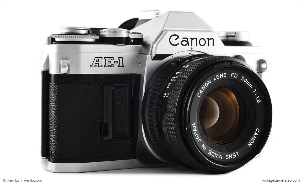 Canon AE-1 (three-quarter view with Canon FD 50mm f/1.8)