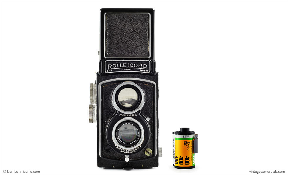 Franke & Heidecke Rolleicord IId (with 35mm cassette for scale)