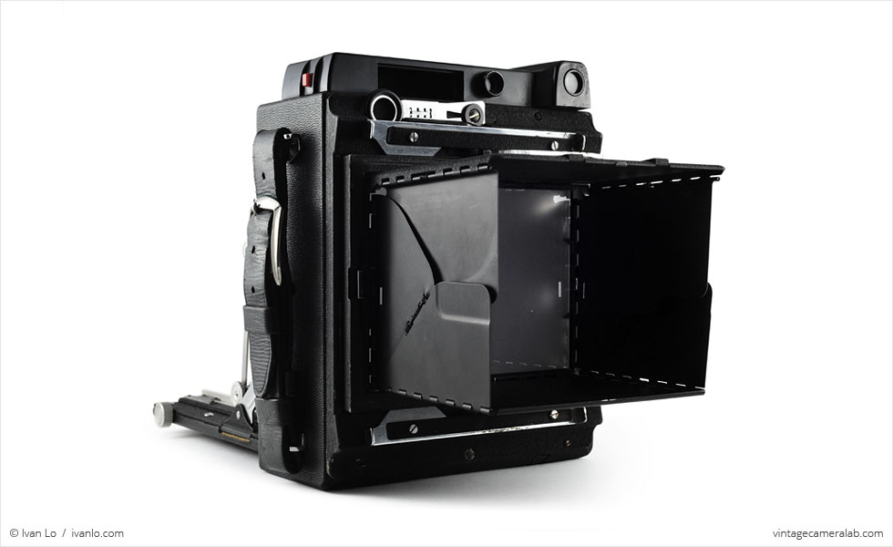 Graflex Crown Graphic (three quarters, focusing hood open)