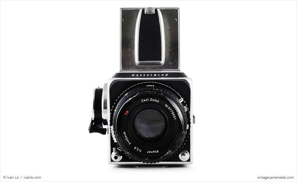 Hasselblad 500 C/M (front view, viewfinder open)