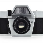 Kiev-10 (front view with Helios-81 50mm f/2 lens)
