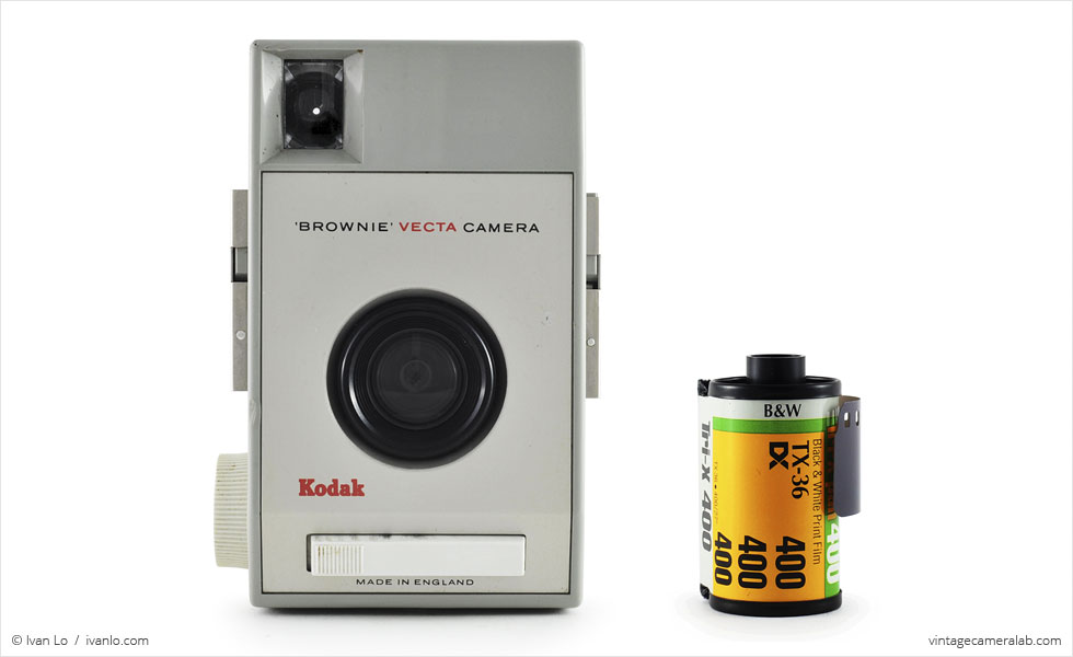 Kodak Brownie Vecta (with 35mm cassette for scale)
