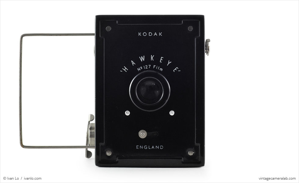 Kodak Hawkeye (front view, wire frame finder up)