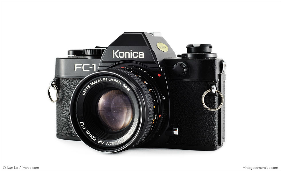 Konica FC-1 (three quarters, with Konica Hexanon 50mm f/1.7)