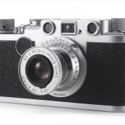 Leica IIf (three-quarter view, with Leitz Elmar 50mm f/3.5 extended)