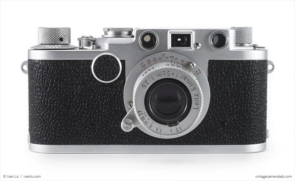Leica IIf (front view, with Leitz Elmar 50mm f/3.5 extended)