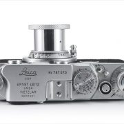 Leica IIf (top view, with Leitz Elmar 50mm f/3.5 extended)