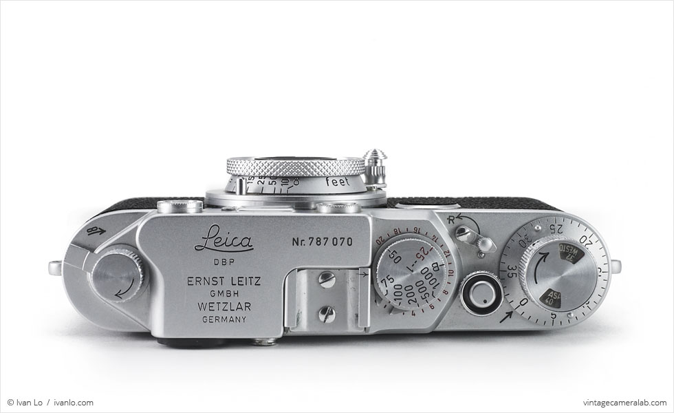 Leica IIf (top view, with Leitz Elmar 50mm f/3.5 collapsed)