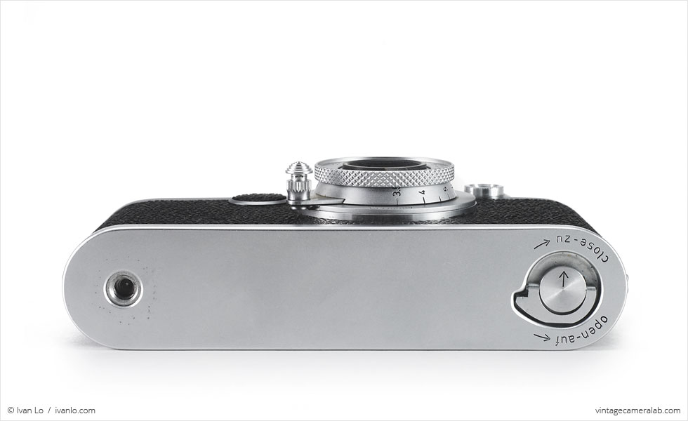 Leica IIf (bottom view, with Leitz Elmar 50mm f/3.5 collapsed)