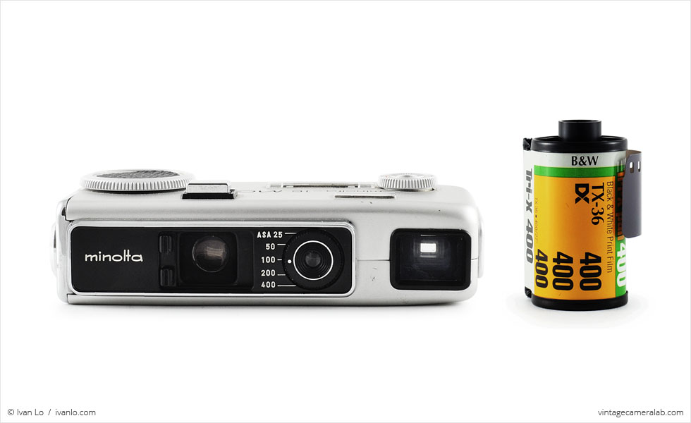 Minolta-16 MG-S (with 35mm cassette for scale)