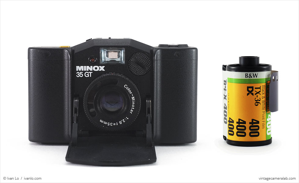 Minox 35 GT (with 35mm cassette for scale)