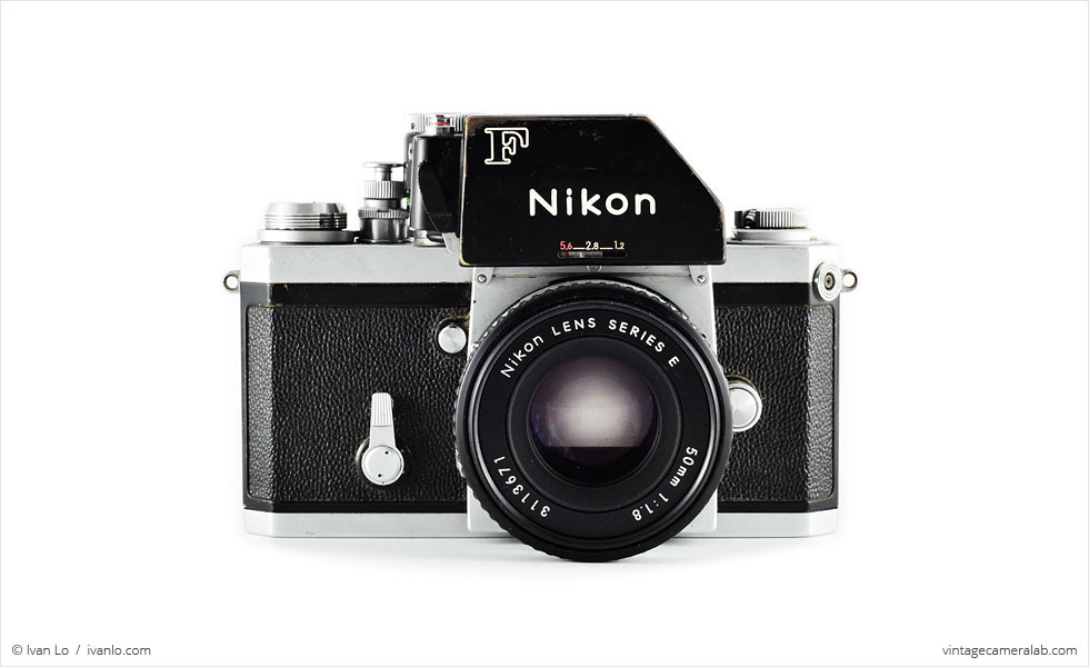 Nikon F (front view, with Nikkor 50mm f/1.8 lens)
