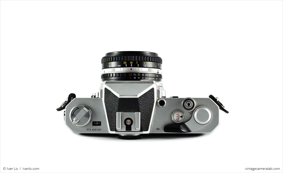 Nikon Nikkormat FT3 (top view, with Nikkor 50mm f/1.8 lens)