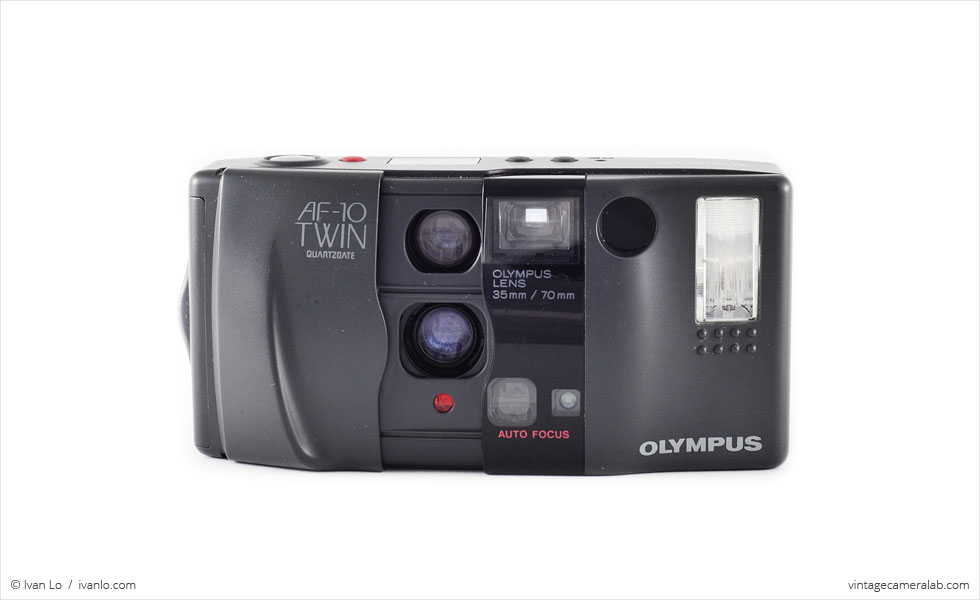 Olympus AF-10 Twin (front view, open)