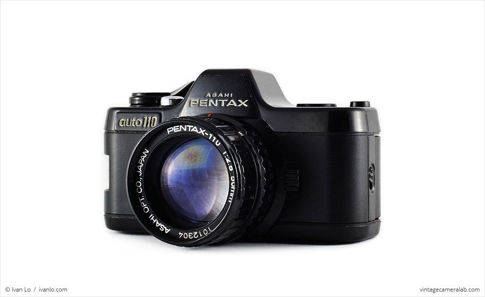 Pentax Auto 110 (three quarters, with Pentax-110 50mm f/2.8 lens)