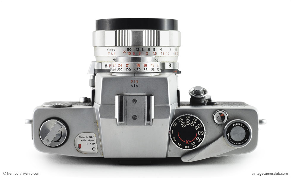 Petri Flex 7 (top view, with Petri Automatic 55mm f/1.8}