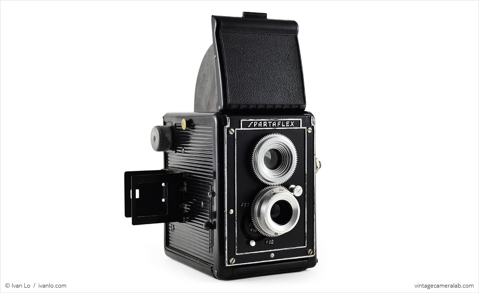 Spartus Spartaflex (three quarters, waist-level and eye-level viewfinders open)