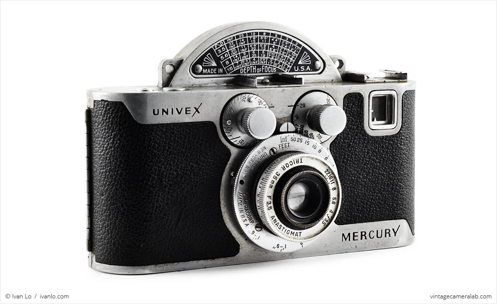 Univex Mercury CC with Tricor 35mm f/3.5 Anastigmat (three-quarter view)