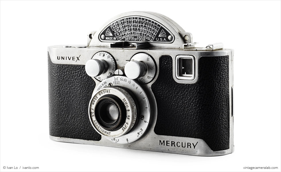 Univex Mercury CC with Tricor 35mm f/3.5 Anastigmat (three quarters)